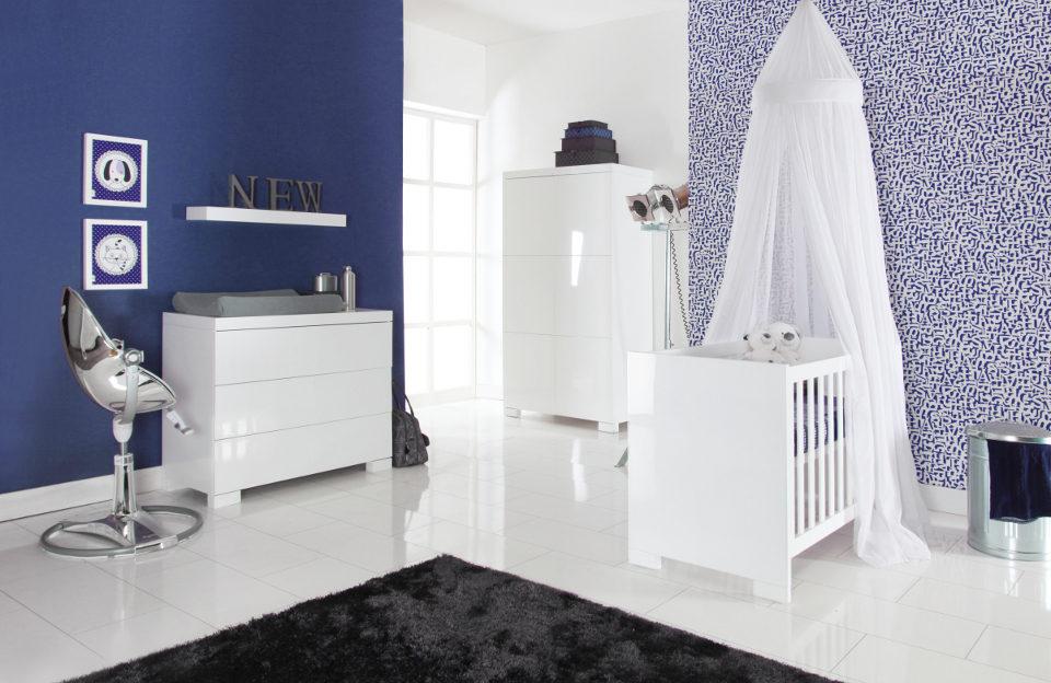 Europebaby Brillant magasfényű fehér modern babaszoba bútor